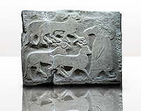 Picture & image of a Neo-Hittite orthostat showing Sacrificial animals being led from Alacahöyük, Alaca Çorum Province, Turkey. Museum of Anatolian Civilisations, Ankara. Old Bronze age Chalcolithic Period. 2