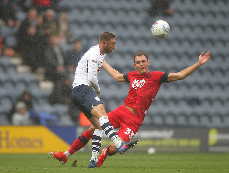 Preston North End's Louis Moult in action with Wigan Athletic's Kal Naismith <br /> <br /> Photographer Mick Walker/CameraSport<br /> <br /> The EFL Sky Bet Championship - Preston North End v Wigan Athletic - Saturday 10th August 2019 - Deepdale Stadium - Preston<br /> <br /> World Copyright © 2019 CameraSport. All rights reserved. 43 Linden Ave. Countesthorpe. Leicester. England. LE8 5PG - Tel: +44 (0) 116 277 4147 - admin@camerasport.com - www.camerasport.com
