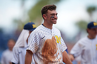 Michigan Wolverines center fielder Jonathan Engelmann (2) during a game against Army West Point on February 18, 2018 at Tradition Field in St. Lucie, Florida.  Michigan defeated Army 7-3.  (Mike Janes/Four Seam Images)