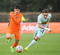 20170314 - UDEN , NETHERLANDS : Dutch Mohamed Mallahi (L) and Belgian Quinten Boudry (R) pictured during the UEFA Under 17 Elite round game between The Netherlands U17 and Belgium U17, on the first matchday in group 5 of the Uefa Under 17 elite round in The Netherlands , tuesday 14 th March 2017 . PHOTO SPORTPIX.BE | DIRK VUYLSTEKE