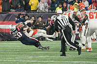 FOXBOROUGH, MA - OCTOBER 27: New England Patriots Linebacker Jamie Collins #58 sacks Cleveland Browns Quarterback Baker Mayfield #6 during a game between Cleveland Browns and New Enlgand Patriots at Gillettes on October 27, 2019 in Foxborough, Massachusetts.