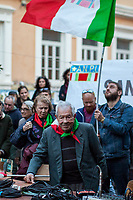 """Mario Di Maio (Antifascist Partizan. Member of the Partigiani: the Italian Resistance during WWII).<br /> <br /> Roma, 27/10/2018. Today Members of the far-right/neo-fascist political party 'Forza Nuova' (New Force), held a demonstration at Porta Maggiore in Rome in response to the rape and murder of the 16-year-old Desiree Mariottini committed in San Lorenzo district Friday the 19th October. <br /> In the meantime, ANPI (National Association of Italian Partizans), supported by other anti-fascist / anti-racist organizations, social centres, trade unions, and political parties, held a counter-demonstration in the heart of San Lorenzo, Piazza dell'Immacolata. The demo was called to protest against the rally of Forza Nuova (New Force), accused to be a fascist group trying to exploit the death of Desiree Mariottini, to propose """"fascist patrols"""" ('ronde' in Italian) in the famous WWII-anti-fascist neighbourhood of San Lorenzo, and for """"narrow-minded slander"""" ('sciacallaggio' in Italian).  <br /> The heavy police presence, in full riot gears, kept the two sides apart. A small group of provocateurs, armed of two 'Forza Nuova' (New Force) flags, were blocked by anti-fascists and police while they were trying to reach the area where Desiree Mariottini was killed in Via dei Lucani 22.  <br /> The sixteen-year-old Desiree Mariottini was found dead in a derelict-abandoned building (known for drug trafficking) in San Lorenzo district on October 19. The Italian police, in connection with the murder, arrested four people, two Senegalese, one Nigerian and one Ghanaian nationals, who allegedly drugged and gang raped Desiree while unconscious, before she died of an alleged overdose (For more info BBC website, https://bbc.in/2O5Sf8l)."""