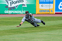 Quad Cities River Bandits outfielder Jonathan Lacroix (13) makes a diving catch during a Midwest League game against the Kane County Cougars on July 1, 2018 at Northwestern Medicine Field in Geneva, Illinois. Quad Cities defeated Kane County 3-2. (Brad Krause/Four Seam Images)