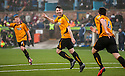 Alloa's Ben Gordon (4) celebrates after he heads home their winner in the dying minutes of the game.