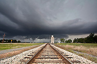 Severe Thunderstorm Above Railroad Tracks & Grain Silo in Langdon, KS, May 20, 2011