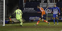 Ollie Palmer of Luton Town watches his shot roll into the net during the Sky Bet League 2 match between Luton Town and Hartlepool United at Kenilworth Road, Luton, England on 14 March 2017. Photo by Liam Smith.