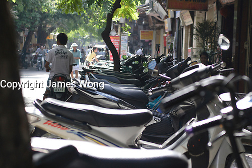 Hanoi<br /> , Vietnam - 2007 File Photo -<br /> <br /> <br /> group of motor scooters lined up on early morning on Hang Bac road. <br /> <br /> <br /> <br /> photo : James Wong-  Images Distribution