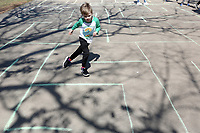 NWA Democrat-Gazette/DAVID GOTTSCHALK Henry Macechko, 6, works his way through a maze Monday, March 18, 2019, as he participates in Spring Break Camp at Mount Sequoyah in Fayetteville. The weeklong camp offers different themed activities each day that includes Detectives, Sports, Science/Tech along with free time activities. Campers can register for a day or multiple days.