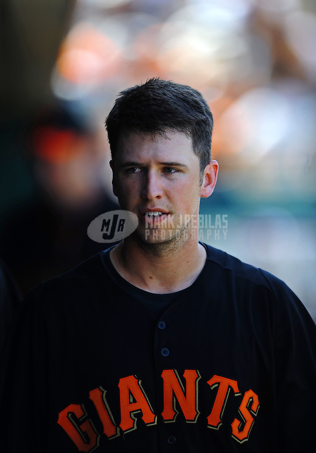 Mar. 28, 2012; Scottsdale, AZ, USA; San Francisco Giants first baseman Buster Posey in the fourth inning against the Los Angeles Dodgers at Scottsdale Stadium.  Mandatory Credit: Mark J. Rebilas-