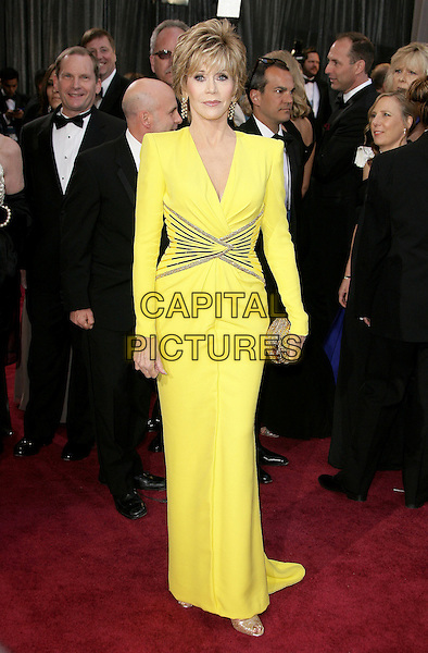 Jane Fonda (wearing Versace).85th Annual Academy Awards held at the Dolby Theatre at Hollywood & Highland Center, Hollywood, California, USA..February 24th, 2013.oscars full length yellow dress gold sequins sequined waist line clutch bag.CAP/ADM.©AdMedia/Capital Pictures.