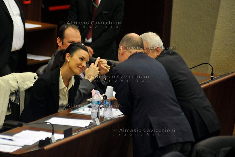 MAR 13, 2012 Milano, Seduta del Consiglio Regionale della Lombardia, NICOLE MINETTI (PDL).MAR 13, 2012 Milan, Session of the Regional Council of  Lombardy.
