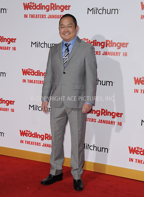 WWW.ACEPIXS.COM<br /> <br /> January 6 2015, LA<br /> <br /> Aaron Takahashi arriving at 'The Wedding Ringer' World Premiere at the TCL Chinese Theatre on January 6, 2015 in Hollywood, California. <br /> <br /> <br /> By Line: Peter West/ACE Pictures<br /> <br /> <br /> ACE Pictures, Inc.<br /> tel: 646 769 0430<br /> Email: info@acepixs.com<br /> www.acepixs.com