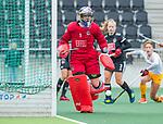 AMSTELVEEN - keeper Anne Veenendaal (Adam)  tijdens de hoofdklasse hockeywedstrijd dames,  Amsterdam-Den Bosch (1-1).    COPYRIGHT KOEN SUYK