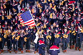 9th February 2018, Pyeongchang, South Korea; 2018 Winter Olympic Games; PyeongChang Olympic Stadium; Luge rider Erin Hamlin leading the national team carries flag of The United States of America