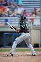 Dayton Dragons first baseman Leandro Santana (8) squares around to bunt during a game against the Beloit Snappers on July 22, 2018 at Pohlman Field in Beloit, Wisconsin.  Dayton defeated Beloit 2-1.  (Mike Janes/Four Seam Images)