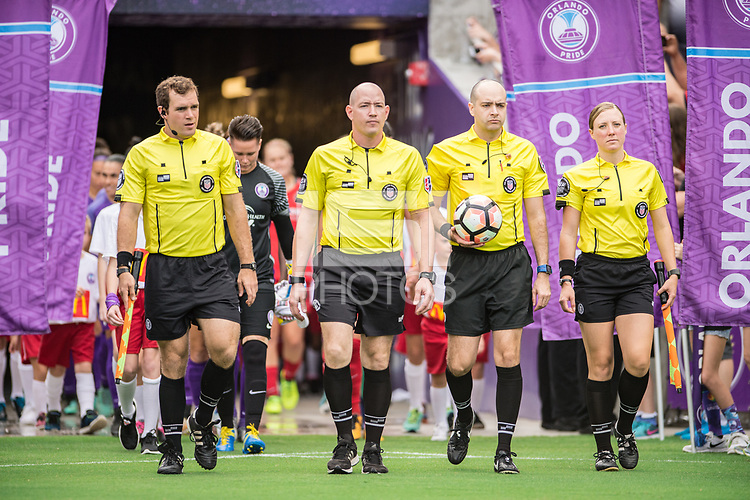 Orlando, FL - Saturday September 23, 2017: Christopher Spivey, Adrienne McDonald, Trent Vanhaitsma, Francesco Terranova during a regular season National Women's Soccer League (NWSL) match between the Orlando Pride and the Portland Thorns FC at Orlando City Stadium.