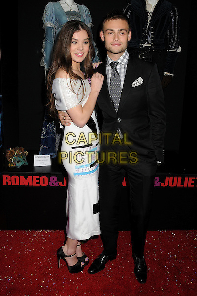Hailee Steinfeld, Douglas Booth<br /> &quot;Romeo &amp; Juliet&quot; Los Angeles Premiere held at Arclight Cinemas, Hollywood, California, USA.<br /> September 24th, 2013<br /> full length white dress off the shoulder black blue ankle strap peep toe shoes suit shirt grey gray check tie side<br /> CAP/ADM/BP<br /> &copy;Byron Purvis/AdMedia/Capital Pictures