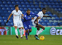 Bolton Wanderers' Sammy Ameobi vies for possession with Cardiff City's Junior Hoilett as Derik Osede watches on<br /> <br /> Photographer Kevin Barnes/CameraSport<br /> <br /> The EFL Sky Bet Championship - Cardiff City v Bolton Wanderers - Tuesday 13th February 2018 - Cardiff City Stadium - Cardiff<br /> <br /> World Copyright &copy; 2018 CameraSport. All rights reserved. 43 Linden Ave. Countesthorpe. Leicester. England. LE8 5PG - Tel: +44 (0) 116 277 4147 - admin@camerasport.com - www.camerasport.com
