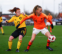 20200226 Kalmthout, BELGIUM :Dutch Jet Van Der Veen (10) and Belgian Lauren Meyers (17) battle for the ball during the international friendly soccer match between the national youth Women Under 17 teams of Belgium and the Netherlands, a friendly game in preparation for the UEFA Elite rounds in March in Belgium for the Belgian team, Wednesday 26th of February 2020 at Sportpark Heikant in Kalmthout, BELGIUM. PHOTO: SPORTPIX.BE | Sevil Oktem