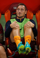 Calcio, Serie A: Roma vs Inter. Roma, stadio Olimpico, 2 ottobre 2016.<br /> Roma's Francesco Totti sits on the bench during the Italian Serie A football match between Roma and FC Inter at Rome's Olympic stadium, 2 October 2016.<br /> UPDATE IMAGES PRESS/Isabella Bonotto