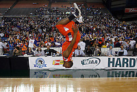 Lakes' Cedric Dozier does a back flip on the court after defeating Bellevue in the Div. 3A high school basketball championship game, on Saturday, March 5, 2011, in Tacoma, Wash. (AP Photo/Kevin P. Casey)
