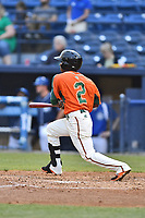 Greensboro Grasshoppers second baseman Mason Davis (2) swings at a pitch during a game against the Asheville Tourists at McCormick Field on April 27, 2017 in Asheville, North Carolina. The Tourists defeated the Grasshoppers 8-5. (Tony Farlow/Four Seam Images)