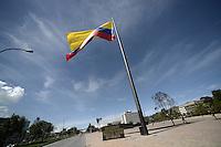 BOGOTÁ-COLOMBIA-11-01-2013. Bandera de Colombia en el Centro Administrativo Nacional, CAN, Bogotá./ Colombian flag in the National Administrative Center, CAN, Bogotá.   Photo: VizzorImage/STR