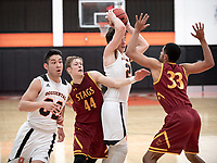 #32 Ryan Kaneshiro and #21 Caleb Yellin-Flaherty<br /> The Occidental College men's basketball team plays against Claremont-Mudd-Scripps on February 12, 2020 in Rush Gym. Oxy won 58-49.<br /> (Photo by Marc Campos, Occidental College Photographer)