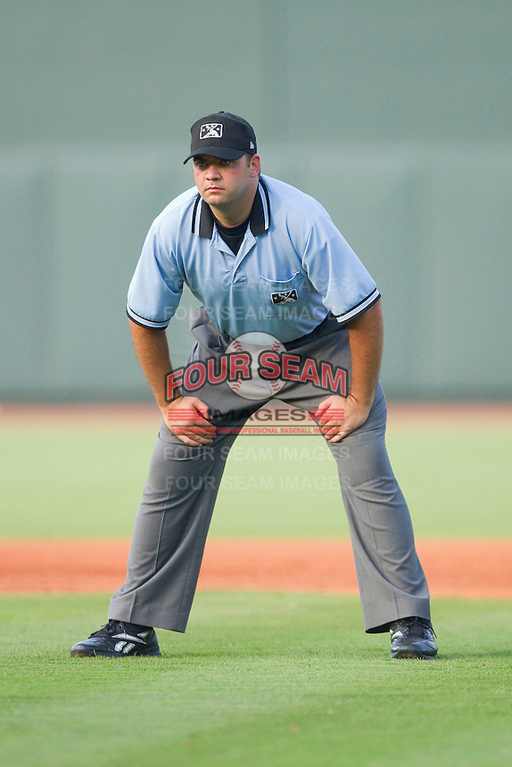 Umpire Jay Pierce handles the calls on the bases during a Carolina League game between the Salem Red Sox and the Winston-Salem Dash at  BB&T Ballpark June 27, 2010, in Winston-Salem, North Carolina.  Photo by Brian Westerholt / Four Seam Images
