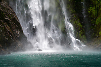 Boat tours are a popular way to explore the beautiful Milford Sound in southwest New Zealand.  All boat tours make it a point to get up close and wet from Sterling Falls.