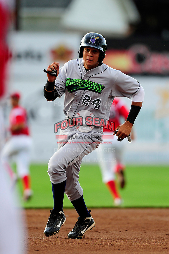 Jamestown Jammers infielder Viosergy Rosa #24 during a game against the Batavia Muckdogs at Dwyer Stadium on June 22, 2012 in Batavia, New York.  Jamestown defeated Batavia 7-5.  (Mike Janes/Four Seam Images)