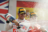 PODIUM WITH WINNER,MCLAREN MERCEDES BRITISH DRIVER,LEWIS HAMILTON HERE WITH CHAMPAGNE NEXT TO FERRARI SPANISH DRIVER FERNANDO ALONSO FINISHING THIRD .Monza 9/9/2012 .Formula 1.Foto Insidefoto / Bernard Asset / Panoramic .Italy Only