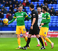 Preston North End's Alan Browne protests to Referee Andy Madley<br /> <br /> Photographer Richard Martin-Roberts/CameraSport<br /> <br /> The EFL Sky Bet Championship - Bolton Wanderers v Preston North End - Saturday 9th February 2019 - University of Bolton Stadium - Bolton<br /> <br /> World Copyright &copy; 2019 CameraSport. All rights reserved. 43 Linden Ave. Countesthorpe. Leicester. England. LE8 5PG - Tel: +44 (0) 116 277 4147 - admin@camerasport.com - www.camerasport.com
