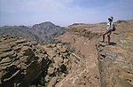 "Climbing path above the rift on the trek from ""Little Petra"" to El Deir temple. Middle East. Jordan. Petra"