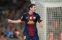 FUSSBALL  INTERNATIONAL  PRIMERA DIVISION  SAISON 2011/2012   23.08.2012 El Clasico  Super Cup 2012 FC Barcelona - Real Madrid  JUBEL Barca; Torschuetze zum 2-1 Lionel Messi
