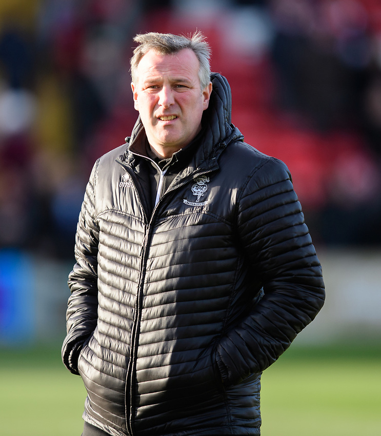 Lincoln City's club doctor Dr Chris Batty during the pre-match warm-up<br /> <br /> Photographer Chris Vaughan/CameraSport<br /> <br /> The EFL Sky Bet League Two - Lincoln City v Northampton Town - Saturday 9th February 2019 - Sincil Bank - Lincoln<br /> <br /> World Copyright © 2019 CameraSport. All rights reserved. 43 Linden Ave. Countesthorpe. Leicester. England. LE8 5PG - Tel: +44 (0) 116 277 4147 - admin@camerasport.com - www.camerasport.com