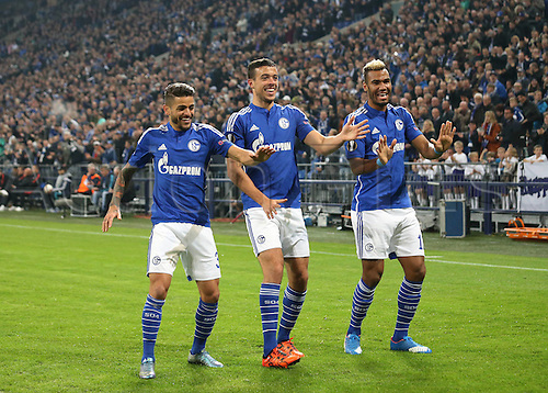 22.10.2015. Gelsenkirchen, Germany. UEFA Europa League football. FC Schalke versus Sparta Prague.  Junior Caicara, Franco Di Santo , Eric Maxim Choupo-Moting  celebrate their goal