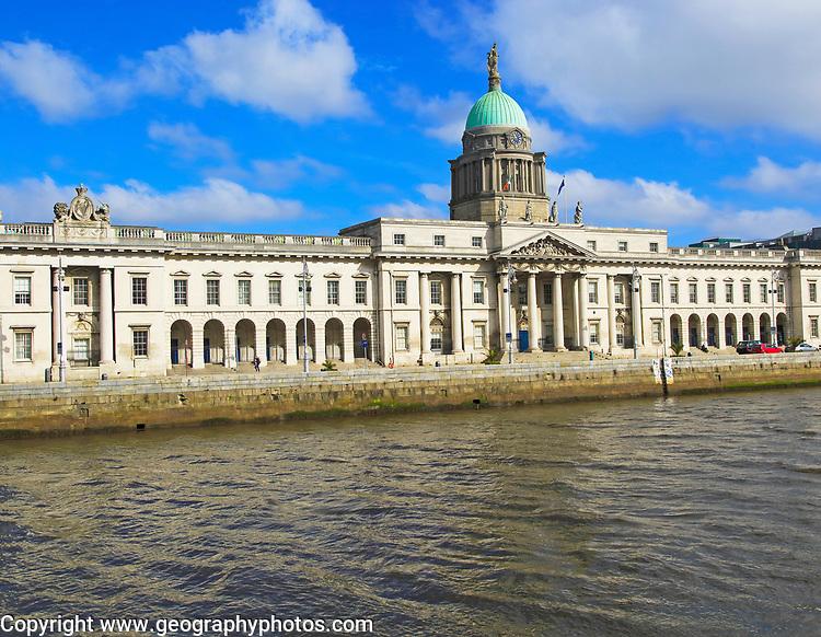 Neo-classical architecture of the Custom House building, city of Dublin, Ireland, Irish Republi