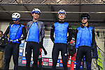 Team Estonia at sign on before the Men Elite Road Race of the UCI World Championships 2019 running 280km from Leeds to Harrogate, England. 29th September 2019.<br /> Picture: Eoin Clarke | Cyclefile<br /> <br /> All photos usage must carry mandatory copyright credit (© Cyclefile | Eoin Clarke)