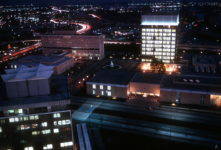 1974 March ..Redevelopment.Downtown East (R-18)..CIVIC CENTER AT NIGHT...NEG#.NRHA# 2356..