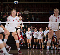 STANFORD, CA - December 1, 2018: Meghan McClure, Holly Campbell, Kathryn Plummer at Maples Pavilion. The Stanford Cardinal defeated Loyola Marymount 25-20, 25-15, 25-17 in the second round of the NCAA tournament.