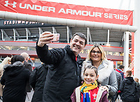 A family of Wales fans taking a selfie out side of the stadium<br /> <br /> Photographer Simon King/CameraSport<br /> <br /> International Rugby Union - 2017 Under Armour Series Autumn Internationals - Wales v Australia - Saturday 11th November 2017 - Principality Stadium - Cardiff<br /> <br /> World Copyright &copy; 2017 CameraSport. All rights reserved. 43 Linden Ave. Countesthorpe. Leicester. England. LE8 5PG - Tel: +44 (0) 116 277 4147 - admin@camerasport.com - www.camerasport.com