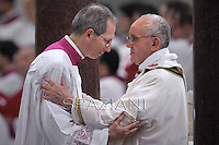Pope Francis,Marini,celebrates a mass  at the Basilica of Saint Paul Outside the Walls in Rome.and presides over a ceremony in which he formally takes possession of the church.on April 14, 2013