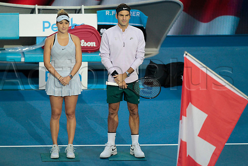 6th January 2018, Perth Arena, Perth, Australia; MasterCard Hopman Cup Tennis Final; Roger Federer and Belinda Bencic of Team Switzerland line up for the Swiss National Anthem before the start of the Final