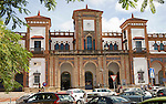 Cars outside historic railway station building, Jerez de la Frontera, Spain