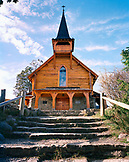 ARGENTINA, Bariloche, low angle view of a wooden church against the sky.