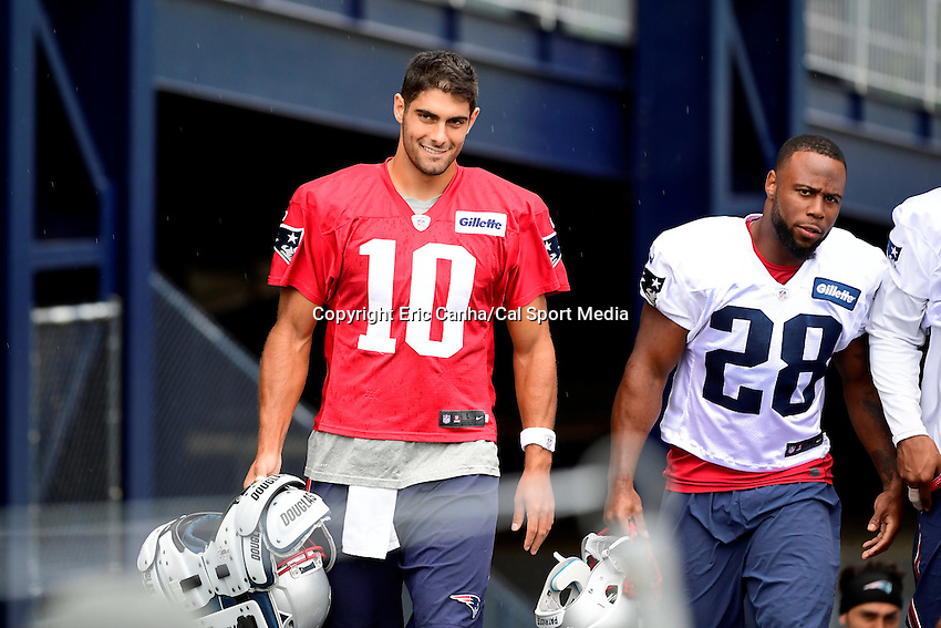 Wednesday August 10, 2016: New England Patriots quarterback Jimmy Garoppolo (10) and running back James White (28) walk to practice at a joint training camp practice between New England Patriots and  the New Orleans Saints  training camp held Gillette Stadium in Foxborough Massachusetts. Eric Canha/CSM