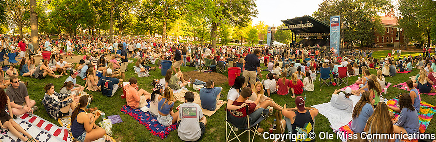 A fun-filled afternoon of country music takes place in the Grove. Photo by Robert Jordan/Ole Miss Communications