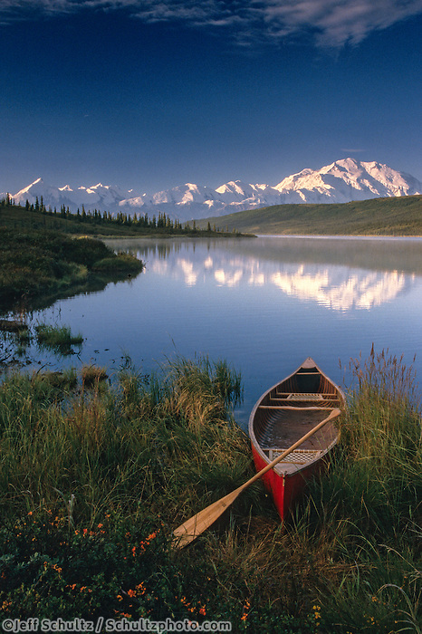 Canoeist In Wonder Lake W/Mt Mckinley Denali Np In Ak Summer