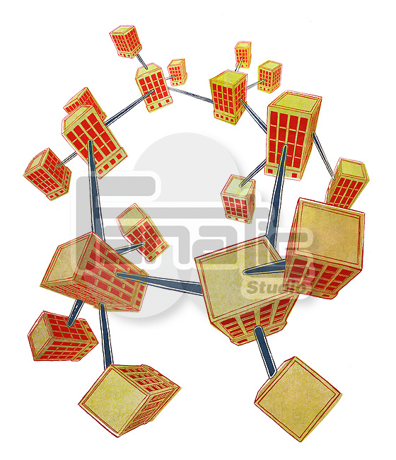 Business network in the form of molecule structure against white background
